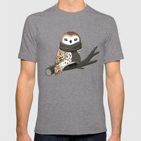 Winter Owl Mens Fitted Tee Tri-Grey SMALL