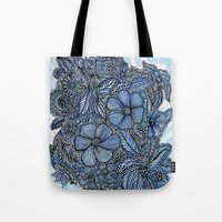 Flowers on blue.  Tote Bag