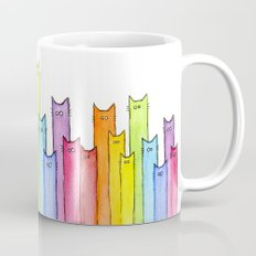 Cat Rainbow Watercolor Pattern Mug