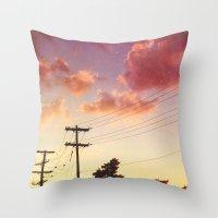 Red Hot Summer Sun Set Throw Pillow