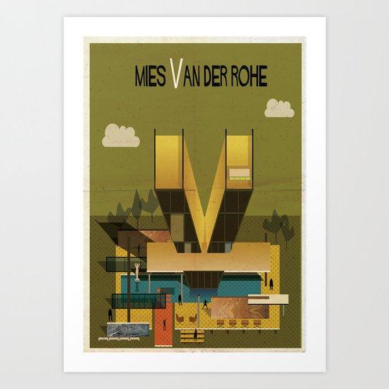 Mies van der rohe art print by federico babina society6 for Case mies van der rohe