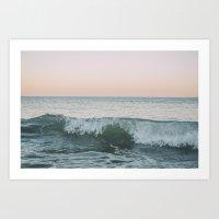 Sunset waves crashing Art Print