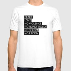 Peace and Love and ... Mens Fitted Tee SMALL White