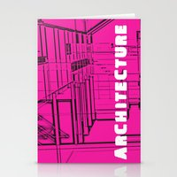 Architecture Pink Stationery Cards