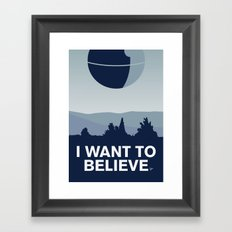 My I want to believe minimal poster-deathstar Framed Art Print