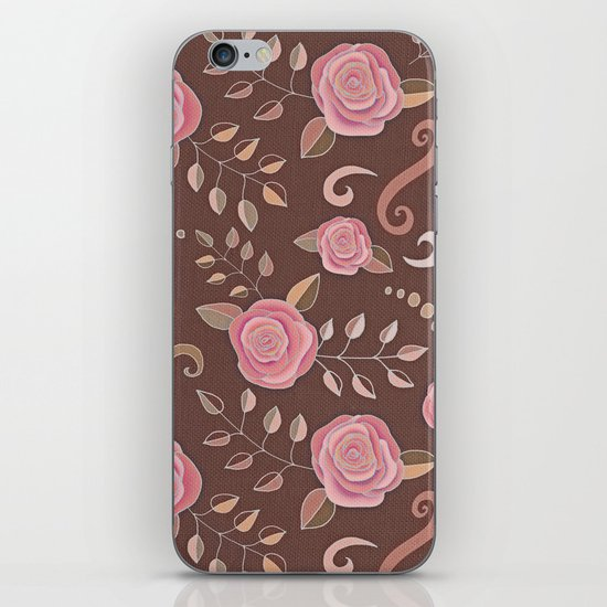 Coffee Roses - vintage rose pattern in pink and brown iPhone & iPod Skin