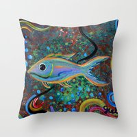 Lone Fish Throw Pillow