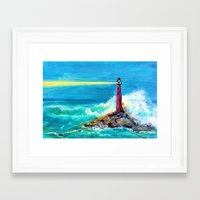 Lighthouse Abstract Painting Framed Art Print