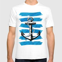 Anchor away Mens Fitted Tee White SMALL