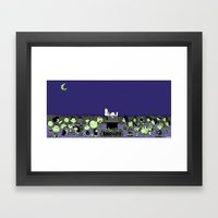 GATHERING NUTS. Framed Art Print
