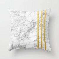 Marble & Gold Stripes II Throw Pillow