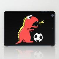 Black Cartoon Dinosaur Soccer iPad Case