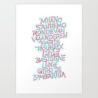 Five Monuments of Cycling Art Print