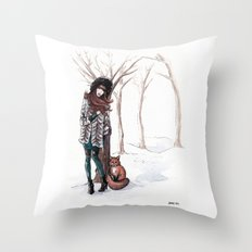 Woodland Frost Throw Pillow