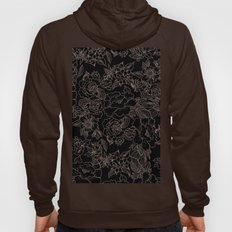 Pink coral tan black floral illustration pattern Hoody