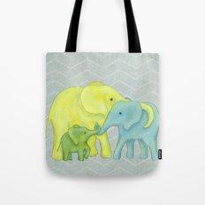 Elephant Family of Three Tote Bag