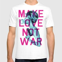 Make Love Not War Mens Fitted Tee White SMALL