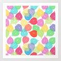 Watercolor Heart Leaves Art Print