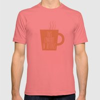 Take Comfort in Rituals. Coffee. Mens Fitted Tee Pomegranate SMALL