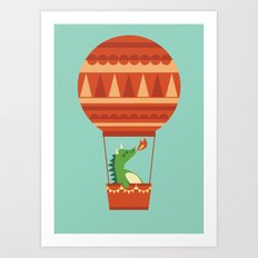 Dragon On Hot Air Balloon Art Print