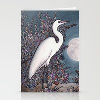 Egret In The Moonlight Stationery Cards