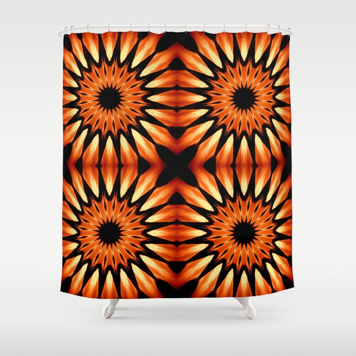 Orange Amp Black Pinwheel Flowers Shower Curtain By