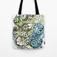 Blue Lime Paisley Tote Bag