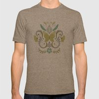 Butterfly Damask - Spring Mod Mens Fitted Tee Tri-Coffee SMALL