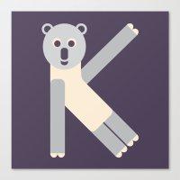 Letter K // Animal Alphabet // Koala Canvas Print