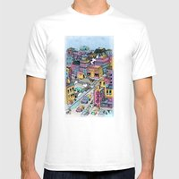 Tiny Town Mens Fitted Tee White SMALL
