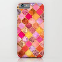 Hot Pink, Gold, Tangerine & Taupe Decorative Moroccan Tile Pattern iPhone 6 Slim Case