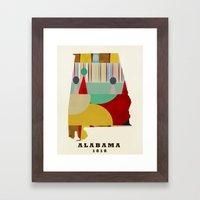 Alabama state map modern Framed Art Print