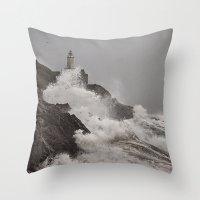 Wild Welsh Waves Throw Pillow
