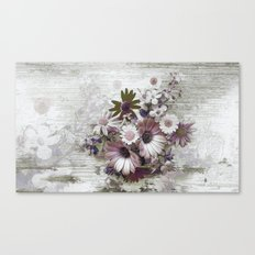 Daisies on Worn Wood Canvas Print