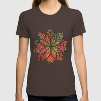 Floral Abstract 7 Womens Fitted Tee Brown SMALL