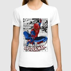 Spider-Man Comic Womens Fitted Tee White SMALL