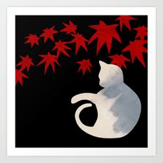 Japanese Cats Series - Red Maple Art Print