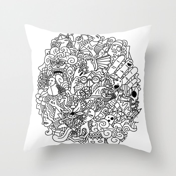 Throw Pillow Doodle : Doodle Throw Pillow by Vibe-Art Society6