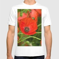 Wild Red Poppies Mens Fitted Tee White SMALL