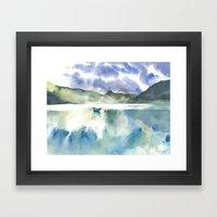 Watercolor Scotland Loch Framed Art Print