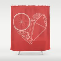 Love Bike (On Red) Shower Curtain