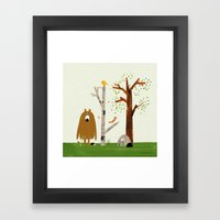 Bear, Bird and Squirrel in the Woods Framed Art Print