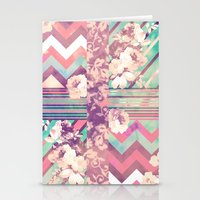 Retro Pink Turquoise Flo… Stationery Cards