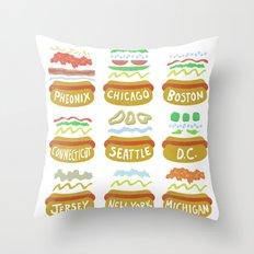 Hot Dogs! Re-do Throw Pillow
