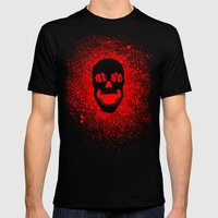 RUNO SKULL EYES Red Mens Fitted Tee Black SMALL