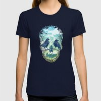 Nature's Skull Womens Fitted Tee Navy SMALL