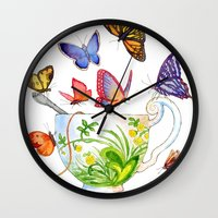Butterfly Tea Wall Clock