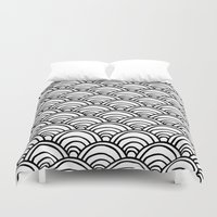 Waves All Over - Black A… Duvet Cover