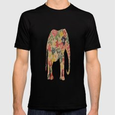 Flower Power Elephant Black SMALL Mens Fitted Tee
