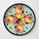 Orange Garden Pattern Wall Clock